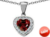 Original Star K™ 8mm Heart Shape Simulated Garnet Love Pendant style: 309191
