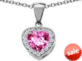 Original Star K™ 8mm Heart Shape Created Pink Sapphire Love Pendant style: 309192