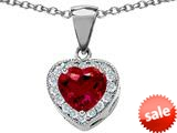 Original Star K™ 8mm Heart Shape Created Ruby Love Pendant style: 309196