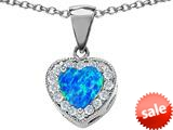 Original Star K™ 8mm Heart Shape Simulated Blue Opal Love Pendant style: 309200