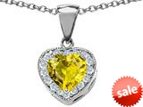 Original Star K™ 8mm Heart Shape Simulated Citrine Love Pendant style: 309201