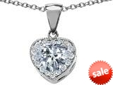 Original Star K™ 8mm Heart Shape Genuine White Topaz Love Pendant style: 309202