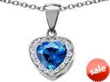 Original Star K™ 8mm Heart Shape Simulated Blue Topaz Love Pendant style: 309203