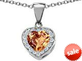 Original Star K™ 8mm Heart Shape Simulated Imperial Yellow Topaz Love Pendant style: 309204