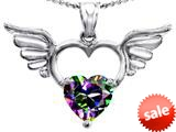 Original Star K™ Wings Of Love Birthstone Pendant with 8mm Heart Shape Rainbow Mystic Topaz style: 309205