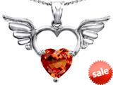 Original Star K™ Wings Of Love Birthstone Pendant with 8mm Heart Shape Simulated Orange Mexican Fire Opal style: 309206