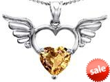 Original Star K™ Wings Of Love Birthstone Pendant with 8mm Heart Shape Simulated Imperial Yellow Topaz style: 309207