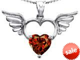 Original Star K™ Wings Of Love Birthstone Pendant with 8mm Heart Shape Simulated Garnet style: 309209