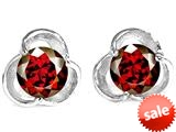 Original Star K™ Round 6mm Simulated Garnet Flower Earrings Studs style: 309210