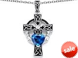 Celtic Love by Kelly™ Claddagh Cross pendant with 7mm Heart Shape Simulated Blue Topaz style: 309212