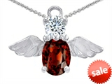 Original Star K™ Angel Of Love Protection Pendant With Oval 8x6mm Simulated Garnet style: 309213