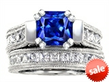 Original Star K™ 7mm Square Cut Created Sapphire Engagement Wedding Set style: 309227