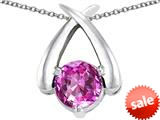Original Star K™ XO Hug and Kiss Pendant with Round 7mm Created Pink Sapphire style: 309242