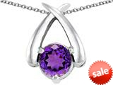 Original Star K™ XO Hug and Kiss Pendant with Round 7mm Simulated Amethyst style: 309246