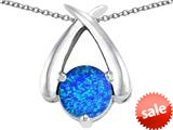 Original Star K™ XO Hug and Kiss Pendant with Round 7mm Created Blue Opal style: 309247