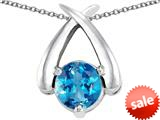 Original Star K™ XO Hug and Kiss Pendant with Round 7mm Simulated Blue Topaz style: 309248