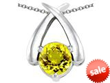 Original Star K™ XO Hug and Kiss Pendant with Round 7mm Simulated Citrine style: 309251