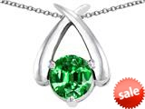 Original Star K™ XO Hug and Kiss Pendant with Round 7mm Simulated Emerald style: 309252