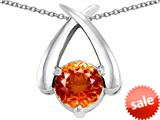 Original Star K™ XO Hug and Kiss Pendant with Round 7mm Simulated Orange Mexican Fire Opal style: 309253