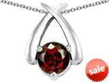 Original Star K™ XO Hug and Kiss Pendant with Round 7mm Simulated Garnet style: 309254