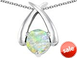 Original Star K™ XO Hug and Kiss Pendant with Round 7mm Created Opal style: 309255