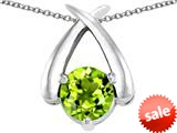 Original Star K™ XO Hug and Kiss Pendant with Round 7mm Simulated Peridot style: 309256