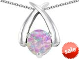 Original Star K™ XO Hug and Kiss Pendant with Round 7mm Created Pink Opal style: 309257