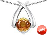 Original Star K™ XO Hug and Kiss Pendant with Round 7mm Simulated Imperial Yellow Topaz style: 309258