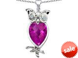 Original Star K™ Good Luck Owl Pendant with Pear Shape Created Pink Sapphire style: 309265