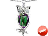 Original Star K™ Good Luck Owl Pendant with Pear Shape Rainbow Mystic Topaz style: 309267
