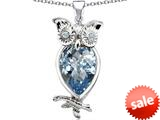 Original Star K™ Good Luck Owl Pendant with Pear Shape Simulated Aquamarine style: 309269