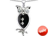 Original Star K™ Good Luck Owl Pendant with Pear Shape Simulated Black Onyx style: 309270