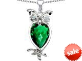Original Star K™ Good Luck Owl Pendant with Pear Shape Simulated Emerald style: 309275
