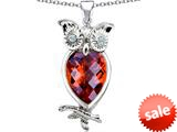 Original Star K™ Good Luck Owl Pendant with Pear Shape Simulated Orange Mexican Fire Opal style: 309276