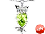 Original Star K™ Good Luck Owl Pendant with Pear Shape Simulated Apple Green Amethyst style: 309278