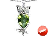 Original Star K™ Good Luck Owl Pendant with Pear Shape Simulated Peridot style: 309280
