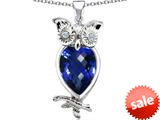 Original Star K™ Good Luck Owl Pendant with Pear Shape Simulated Sapphire style: 309282