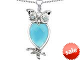 Original Star K™ Good Luck Owl Pendant with Pear Shape Simulated Turquoise style: 309283
