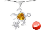 Original Star K™ Good Luck Mother and Child Turtle Pendant with Heart Shape Simulated Citrine style: 309287