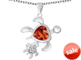 Original Star K™ Good Luck Mother and Child Turtle Pendant with Heart Shape Simulated Orange Mexican Fire Opal style: 309288