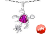Original Star K™ Good Luck Mother and Child Turtle Pendant with Heart Shape Created Pink Sapphire style: 309289