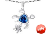 Original Star K™ Good Luck Mother and Child Turtle Pendant with Heart Shape Simulated Blue Topaz style: 309300