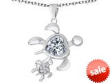 Original Star K™ Good Luck Mother and Child Turtle Pendant with Heart Shape Simulated Diamond style: 309301