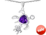 Original Star K™ Good Luck Mother and Child Turtle Pendant with Heart Shape Simulated Amethyst style: 309302