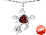 Original Star K™ Good Luck Mother and Child Turtle Pendant with Heart Shape Simulated Garnet style: 309303