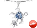 Original Star K™ Good Luck Mother and Child Turtle Pendant with Heart Shape Simulated Aquamarine style: 309307
