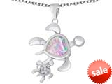 Original Star K™ Good Luck Mother and Child Turtle Pendant with Heart Shape Created Pink Opal style: 309310