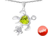 Original Star K™ Good Luck Mother and Child Turtle Pendant with Heart Shape Simulated Green Amethyst style: 309312