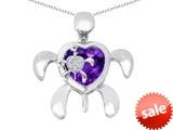 Original Star K™ Good Luck Mother and Child Turtle Pendant with Heart Shape Simulated Amethyst style: 309313