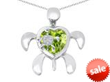 Original Star K™ Good Luck Mother and Child Turtle Pendant with Heart Shape Simulated Green Amethyst style: 309314